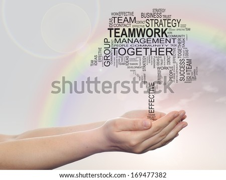 Concept conceptual text word cloud on man hand,tagcloud on rainbow sky  background,metaphor to business,team,teamwork,management,effective,success,communication,company, cooperation,group or symbol - stock photo