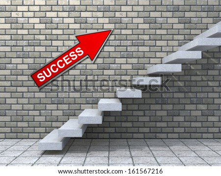 Concept conceptual white stone concrete stair or steps near brick wall background with stone, metaphor to architecture, success, climb, business, staircase, stairway, rise, achievement, growth future