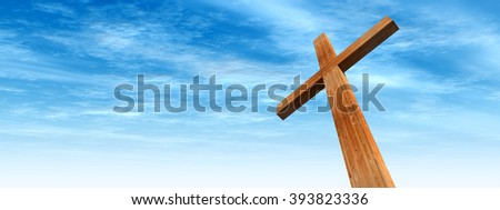 Concept conceptual wood cross or religion symbol shape over a blue sky with clouds background banner metaphor to God, Christ, Christianity, religious, faith, holy, spiritual, Jesus, belief resurection - stock photo