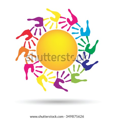 Concept conceptual yellow happy abstract sun with children hand print spiral or circle isolated on white background, metaphor to childhood, education, summer, spring, play or friendship