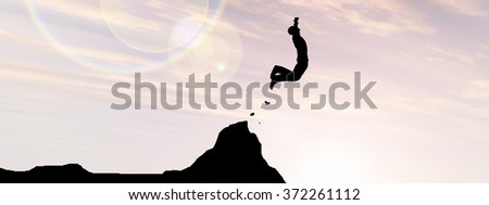Concept conceptual young 3D man businessman silhouette jump happy from cliff over gap sunset or sunrise sky background banner as metaphor to freedom, nature, mountain, success, free, joy, health risk - stock photo