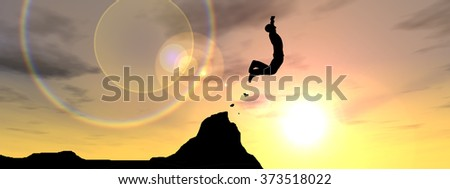 Concept conceptual young 3D man or businessman silhouette jump happy from cliff over  gap sunset sunrise sky background banner  as metaphor to freedom, nature, mountain, success, free, joy health risk - stock photo