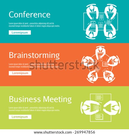 Concept conference, business meeting and brainstorming. Office discussion, corporate and company, team and people - stock photo