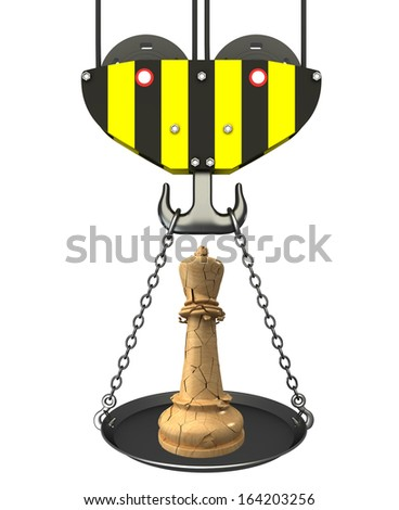 Concept. crane hook with bowl and chess queen. Isolated. white background. 3D - stock photo