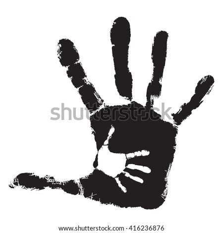 Concept cute black paint hand of mother child handprint isolated on white background for art, care, childhood, family, fun, happy, infant, symbol, kid, little, love, mom, motherhood, young design - stock photo