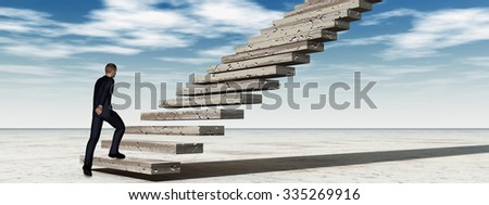 Concept 3D business man walking or climbing stair on sky background with clouds banner metaphor to success, career, work, job, achievement, development, growth, progress, vision, future or faith - stock photo