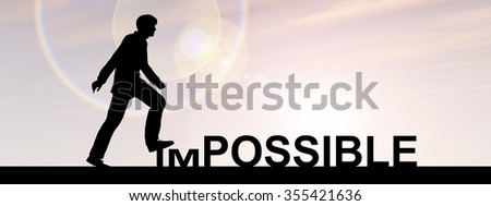 Concept 3D human man or businessman as black silhouette stepping over impossible or possible text at sunset banner metaphor to success, challenge, motivation, achievement, business, goal, hope, hope - stock photo