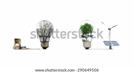concept 3d image of different  energy  - stock photo