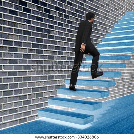 Concept 3D man or  businessman climbing on a stair or steps near a wall background metaphor to success, climb, business, rise, achievement, growth, job, career, leadership, education, goal or future - stock photo