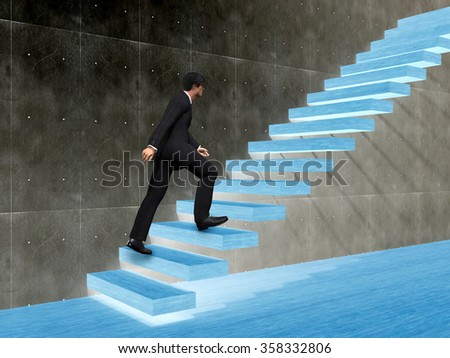 Concept 3D man or  businessman climbing on a stair or steps near a wall background metaphor to success, climb, business, rise, achievement, growth, job, career, leadership, education, goal or future