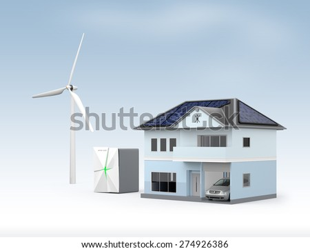 Concept design for stationary battery system. Storage electric power generated from solar and wind power. Clipping path available. - stock photo