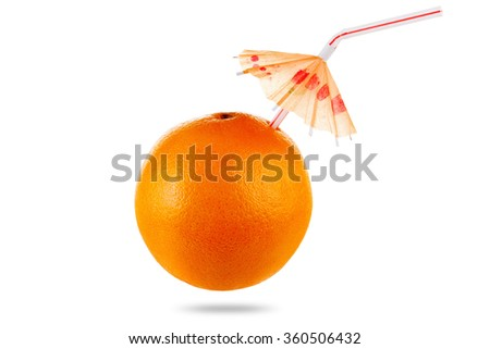 Concept Diet and healthy eating, orange fruit goblet juice with umbrella isolated on white background. studio shot - stock photo