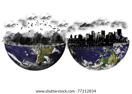 Concept differences between South America and North America. photo of Earth from NASA (http://visibleearth.nasa.gov/useterms.php) - stock photo