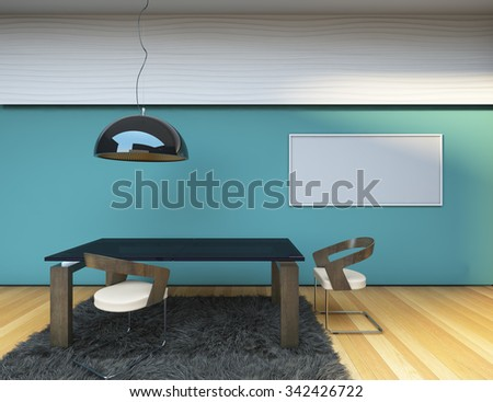 Concept Dining Room Blue Wall 3D Rendering - stock photo