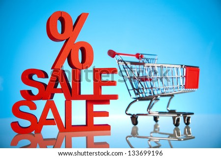 Concept discount, Shopping cart with sale - stock photo