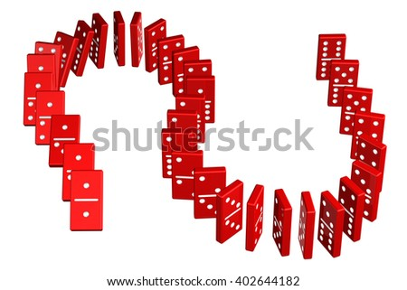 Concept : domino effect, isolated on white background. 3D rendering. - stock photo