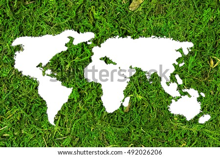 Concept ecology. Silhouette of world map on natural background