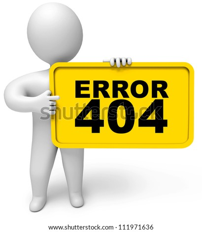 Concept 404 error on white background. Page not found. 3d render - stock photo