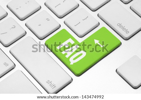 concept: FAQ key on the computer keyboard - stock photo
