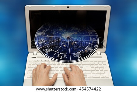 concept for astrology online consultation and horoscope - stock photo