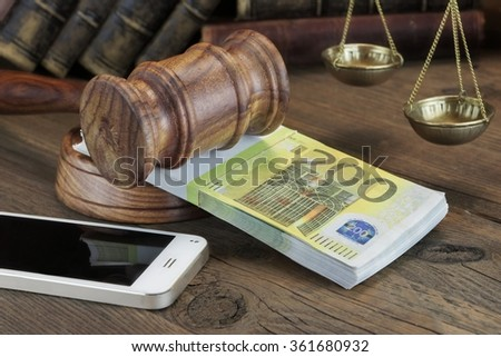 Concept For Corruption, Bankruptcy Court, Bail, Crime, Bribing, Fraud. Judges Gavel,  Bundle Of Euro Cash  And Mobile Phone On The Wooden Textured Table Background. Front View - stock photo