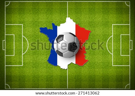 Concept for Euro 2016 France football championship. A soccer ball on a France map with a France flag. - stock photo
