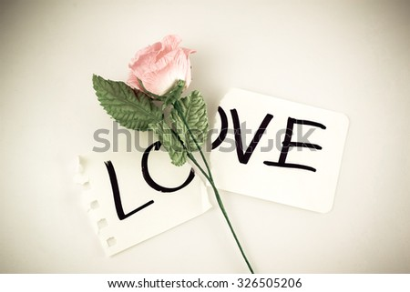 Concept for lost of love love on torn paper and pink rose , vintage tone - stock photo