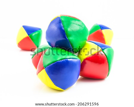 Concept for Multitasking Challenges, Group of Colorful Juggling Balls on White Background - stock photo