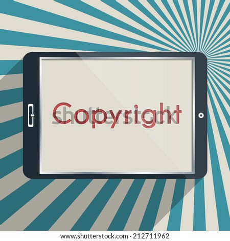 Concept for protection of intellectual property and copyright. Flat design illustration. - stock photo