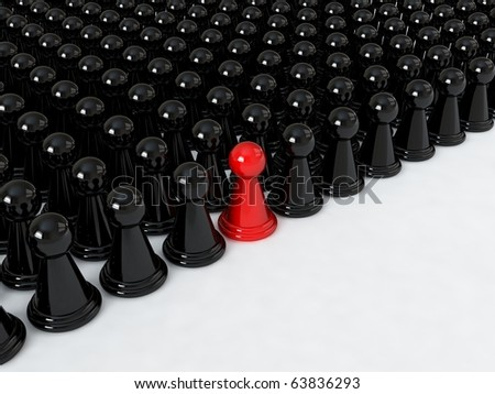Concept for standing out of the crowd - stock photo