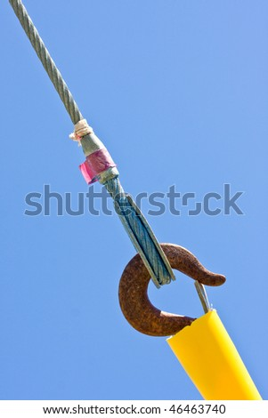 Concept for strong connection, safety and security with ropes, wires, hooks and connecting links - stock photo