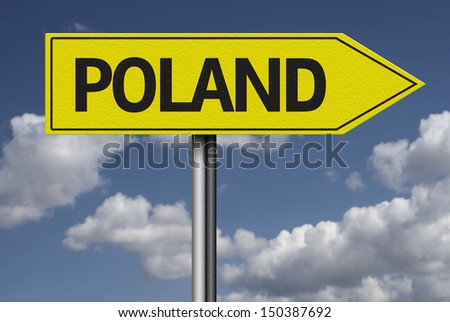 Concept for travel subject - Poland yellow sign - stock photo