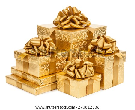Concept gift. Gold boxes on a white background - stock photo