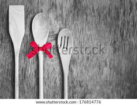 concept gift spoon spatula kitchen tools vintage wooden background - stock photo
