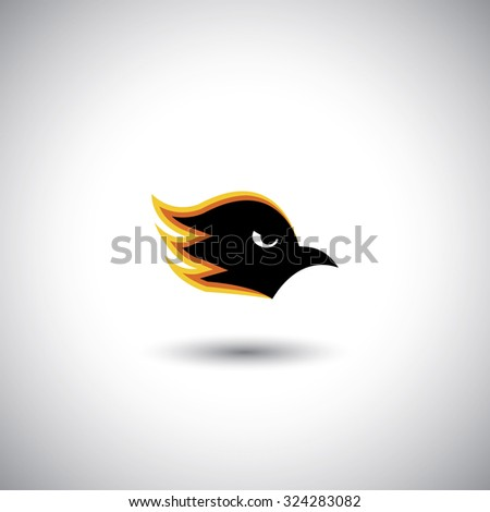 Concept graphic - aggressive eagle or hawk face with flames. The graphic illustration also represents ferociousness, brutality, fierceness, mercilessness, fearlessness - stock photo