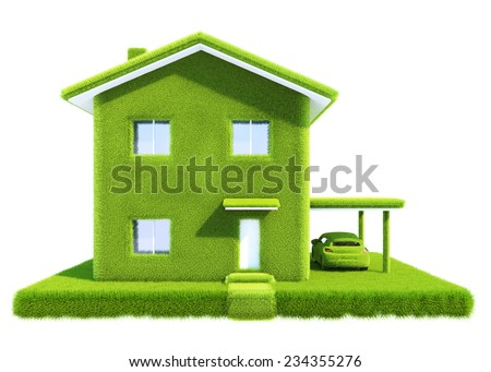 concept green eco house, isolated on white background - stock photo