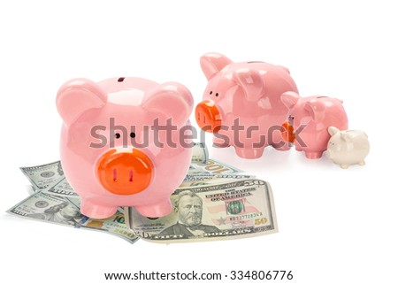 Concept Growing Investment - Piggy Bank family, children, money isolated on white background. This has clipping path.  - stock photo