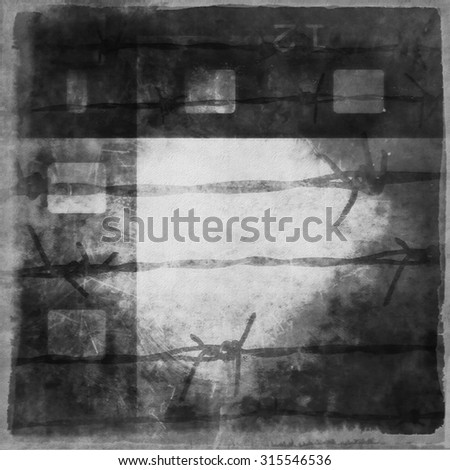 concept grunge film strip background and barbed wire - stock photo