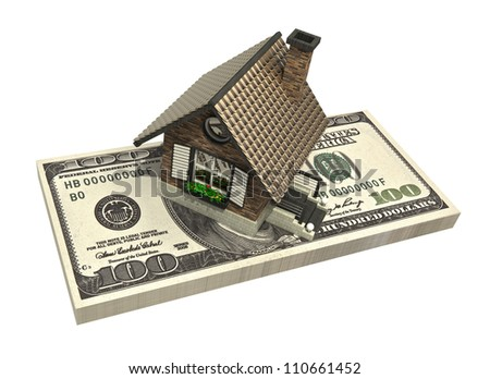 concept house and dollars isolated on white background 3d High resolution - stock photo