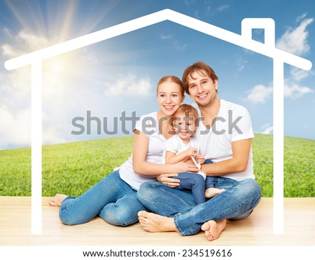 Concept: housing for young families. mother father and child at home - stock photo