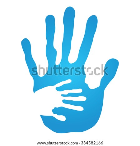 Concept human or mother and child hand prints painted, isolated on white background for art, care, childhood, family, fun, happy, infant, symbol, kid, little, love, mom, motherhood, young design - stock photo