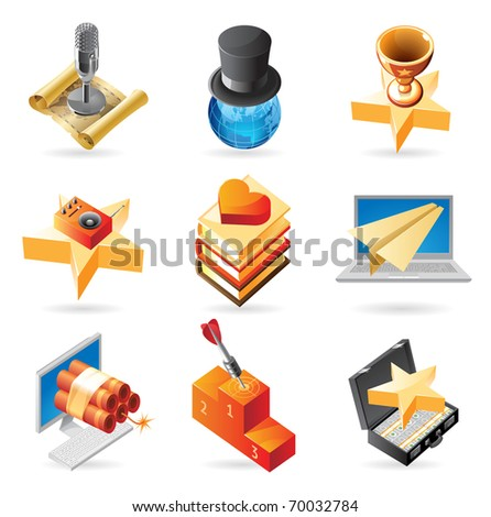 Concept icons for media and entertainment. Illustrations for document, article or website. Raster version. Vector version is also available. - stock photo