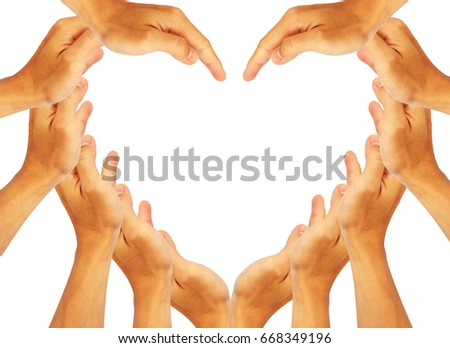 Concept idea of hand to create a heart shape.