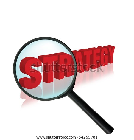concept idea with the word strategy and a magnifying glass - stock photo
