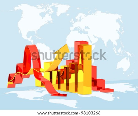 concept  illustration diagram growth or downfall on global world map background, concept  world economics crisis - stock photo