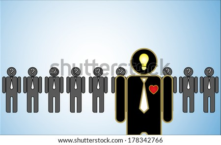 Concept Illustration of Leadership: a row of candidates or employers or people with question marks in their head standing behind a bright passionate leader standing in front.