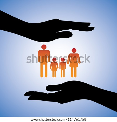 Concept illustration of protecting family of four(parents and two children). The graphic includes silhouettes of female's hand along with figures of dad, mom, son and daughter