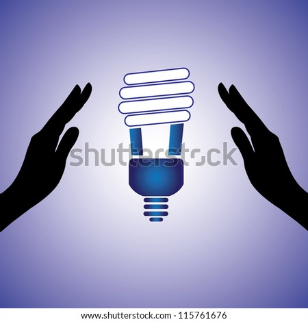 Concept illustration of saving/conserving power. The graphic contains female hands silhouette and Compact fluorescent lamp image which uses very less energy for lighting - stock photo