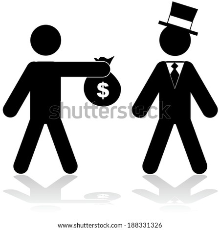 Concept illustration showing a man giving a bag of money to a rich person - stock photo