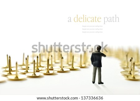 Concept image depicting a difficult or delicate journey. i.e. interview or training progress. Copy space. - stock photo